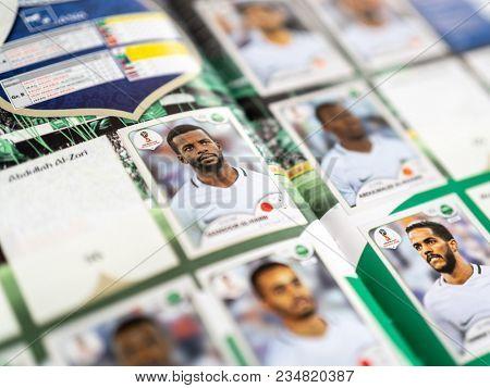 SAO PAULO, BRAZIL - CIRCA MARCH 2018: Panini FIFA World Cup Russia 2018 Official Licensed Sticker Album. (Saudi Arabia Page)