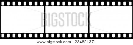 Photographic film in form of frame on white background. Copy space