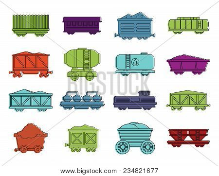 Wagon Icon Set. Color Outline Set Of Wagon Vector Icons For Web Design Isolated On White Background