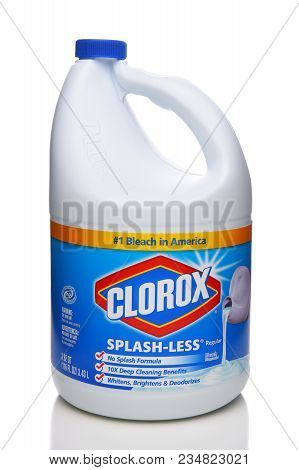 Irvine, California - April 5, 2018: A Bottle Of Clorox Bleach. Household Bleach Is A Chemically Comb