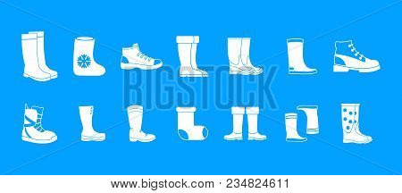 Boots Icon Set. Simple Set Of Boots Vector Icons For Web Design Isolated On Blue Background