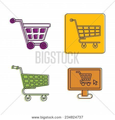 Shop Cart Icon Set. Color Outline Set Of Shop Cart Vector Icons For Web Design Isolated On White Bac