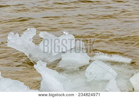 Ice Breaking Up In The Platte River In Michigan With One Very Clear Ice