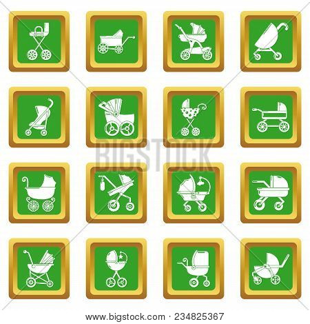 Baby Carriage Icons Set Vector Green Square Isolated On White Background