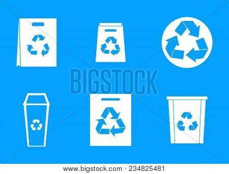 Recycle Material Icon Set. Simple Set Of Recycle Material Vector Icons For Web Design Isolated On Bl