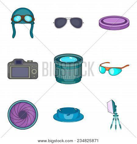 Sense Of Sight Icons Set. Cartoon Set Of 9 Sense Of Sight Vector Icons For Web Isolated On White Bac