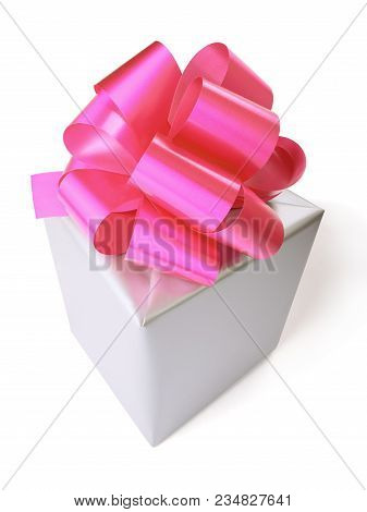 Grey Gift Box With Red Bow Over White Background