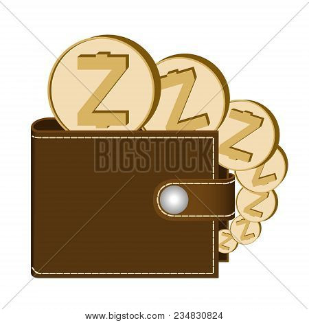 Zcash Wallet With Coins On A White Background , Crypto Currency In The Wallet ,zcash Coins In The Wa