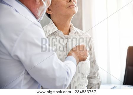 Senior Doctor Is Examining An Asian Patient With Stethoscope. Medical And Health Concepts. Lung, Can