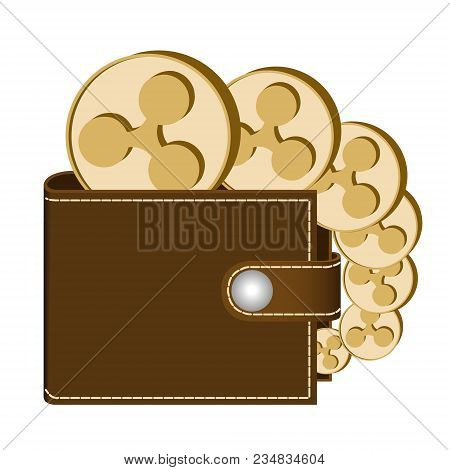 Ripple Wallet With Coins On A White Background , Crypto Currency In The Wallet ,ripple Coins In The