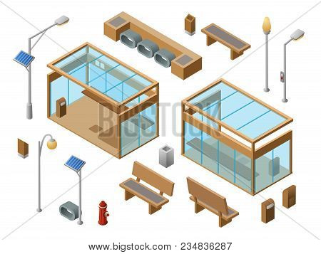 Vector Isometric Bus Stop Concept Objects Set. 3d City Glass Station Benches Sun Panel Streetlights