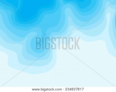 Abstract Blue Topographic Contours Lines Of Mountains. Topography Map Art Curve Line Drawing Backgro