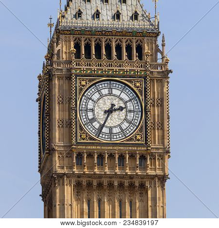 Big Ben, Clock Tower Of The Palace Of Westminster, London, United Kingdom, England. The Tower Is Off