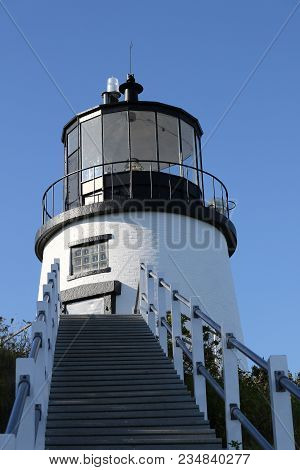 Bass Harbor Head Light, Lighthouse In Maine On A Blue, Clear Day.