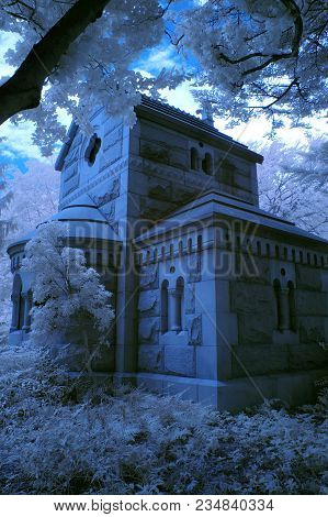 A Small Chapel Surrounded By Brush And Trees, In Infrared Mode.