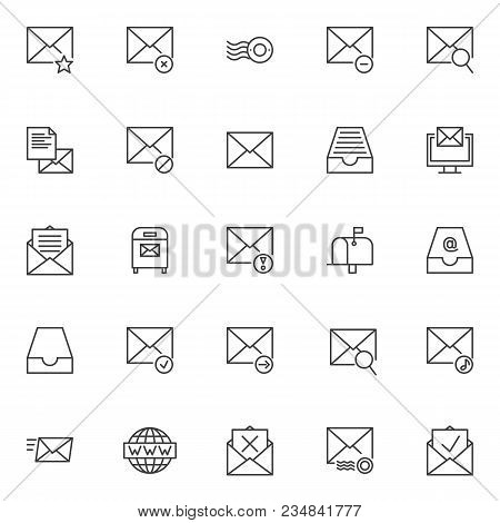 Mail Universal Outline Icons Set. Linear Style Symbols Collection, Line Signs Pack. Vector Graphics.