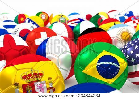 A Large Number Of Soccer Balls With National Flags: Brazil, Croatia, Mexico, Cameroon, Spain, Nether