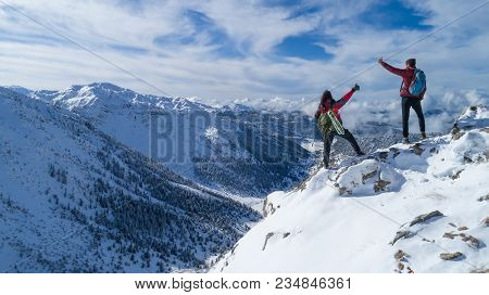 High Snow-capped Mountains And Peak Success ;mountaineers