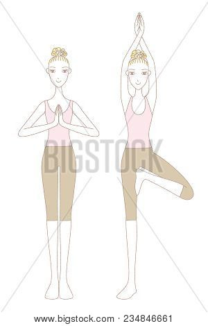Yoga Exercise, Yoga Pose, Woman In Mountain Pose And Tree Pose