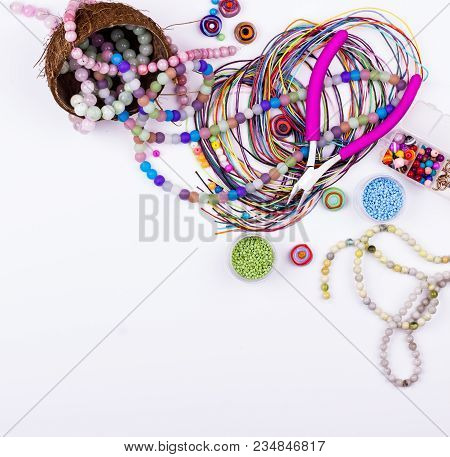 Feminine Workplace In Flat Lay Style. Gemstone And Glass Beads, Materials For Handmade Jewelry Makin