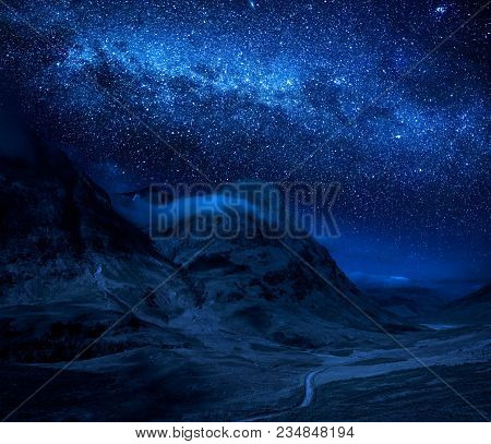 Milky Way And Mountains In Glencoe In Scotland