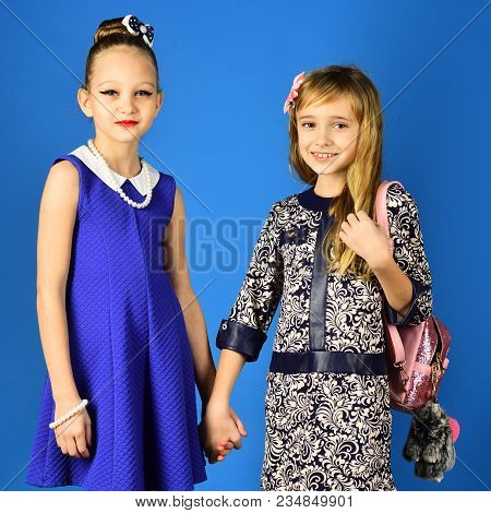 Children Girls In Dress, Family And Sisters. Family Fashion Model Sisters, Beauty. Fashion And Beaut