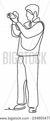 Photographer With Camera, Isolated On White Background, Continuous Line Drawing. Vector Monochrome,