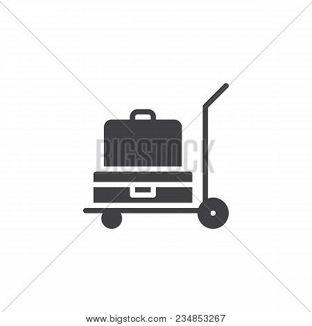 Luggage Trolley Vector Icon. Filled Flat Sign For Mobile Concept And Web Design. Baggage Trolley Car
