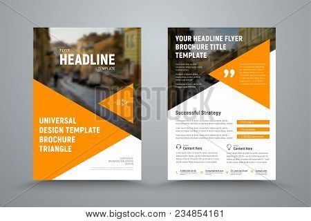 Design Flyer With Triangles And A Place For A Photo. Template Of The Cover And Back Page Of The Broc