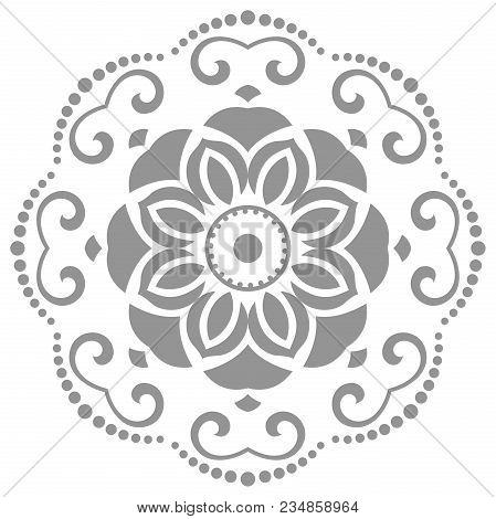 Floral Round Pattern With Arabesques. Abstract Oriental Ornament. Vintage Classic Pattern