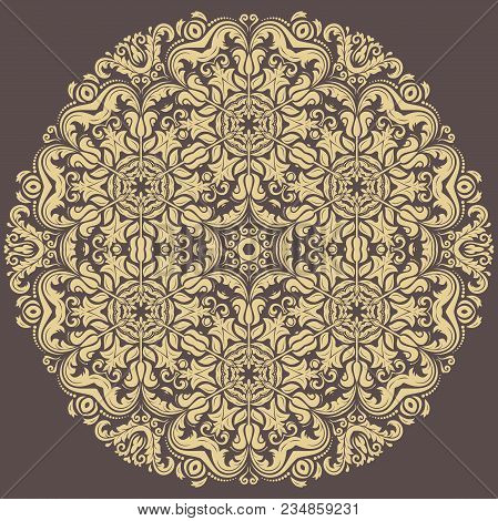 Oriental Pattern With Arabesques And Floral Elements. Traditional Classic Round Golden Ornament. Vin
