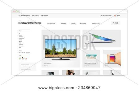 Electronics Webstore Site Template Mockup Isolated, 3d Illustration. Phones And Accessory Web Page I