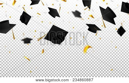 Graduate Caps And Confetti On A Transparent Background. Caps Thrown Up. Invitation Card With Diploma