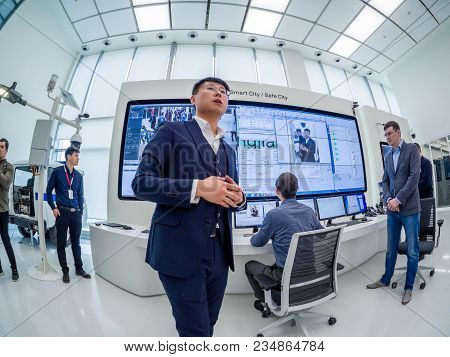 Moscow, Russia - April 3, 2018: Huawei Russia Manager Presents Demo Stand Smart Safe City At Event O
