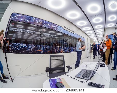 Moscow, Russia - April 3, 2018: Huawei Russia Manager Presents Demo Stand Digital Banking At Event O