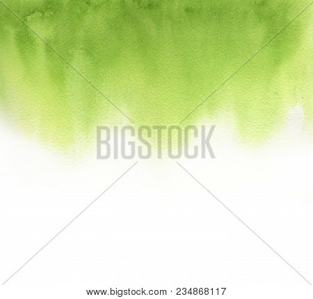 Abstract Green Watercolor On White Background. The Color Splashing In The Paper. It Is A Hand Drawn.