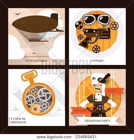 Vector Set Of Steampunk Square Cards With Steam Punk Accessories As Goggles, Dirigible And Watches A