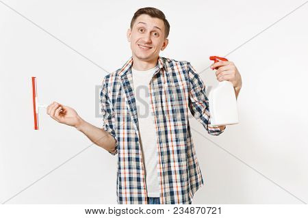 Young Housekeeper Man In Checkered Shirt Holding Squeegee, White Blank Cleaning Spray Bottle With Cl
