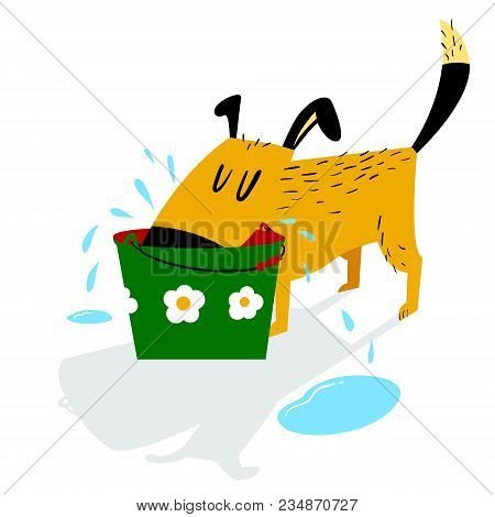 Dog Drinks. A Sloppy Dog Drinks Water From A Bucket And Leaves Puddles Around. Cartoon Vector Illust