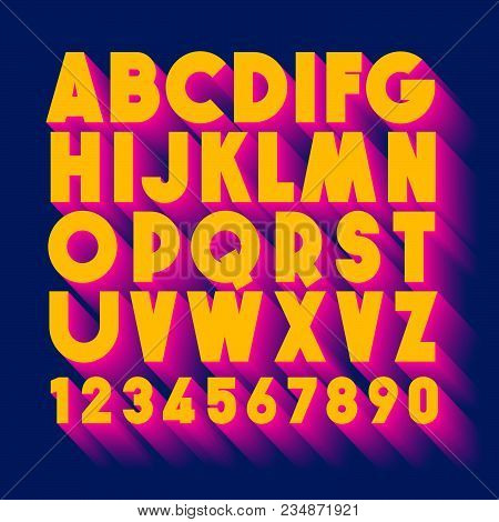3d Typography. Color Extruded Alphabet. Poster Letters. 3d Yellow And Pink Extruded Alphabet Letters