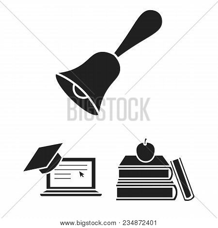School And Education Black Icons In Set Collection For Design.college, Equipment And Accessories Vec