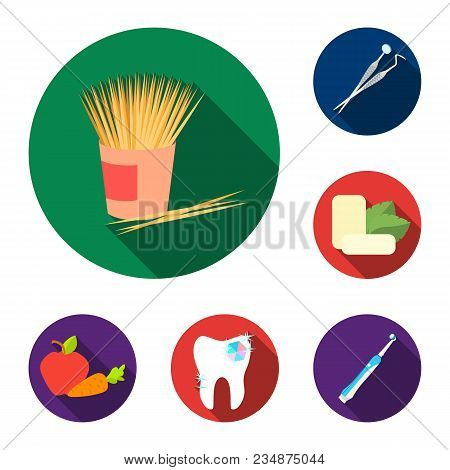 Dental Care Flat Icons In Set Collection For Design. Care Of Teeth Vector Symbol Stock  Illustration