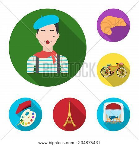 Country France Flat Icons In Set Collection For Design. France And Landmark Vector Symbol Stock  Ill