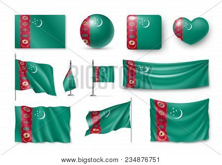 Set Turkmenistan Flags, Banners, Banners, Symbols, Flat Icon. Vector Illustration Of Collection Of N