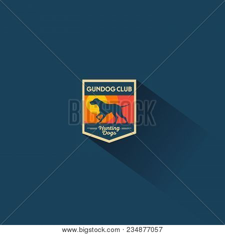 Dog Club. Emblem. Hunter Dog Logo Or Dog Meals Logo. A Dog On A Background Of Abstract Sunset In The