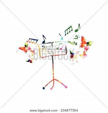 Music Colorful Background With Music Stand. Music Festival Poster. Music Stand Isolated Vector Illus