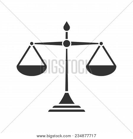 Justice Scales Glyph Icon. Silhouette Symbol. Equality. Judgement. Negative Space. Vector Isolated I