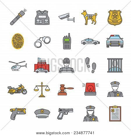 Police Color Icons Set. Law Enforcement. Transport, Protection Equipment, Weapon. Isolated Vector Il