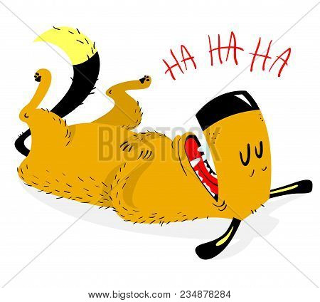 Laughing Dog. The Dog Laughs And Rolls On The Floor On The Back. Good Emotion. Vector Illustration W