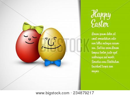 Funny Easter Eggs With A Bow - Happy Easter Card Template
